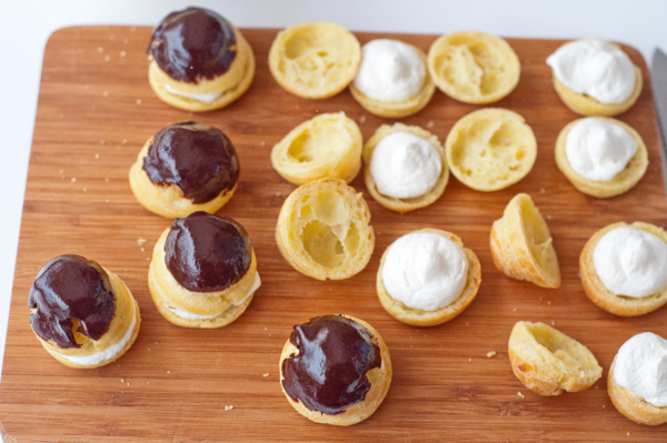 Cream puffs filled and topped on eatlivetravelwrite.com