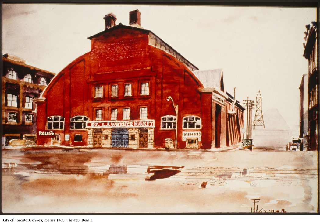 File includes slides that depict interiors and exteriors of St. Lawrence market and the Hanis plant as well as an illustrated detail of St. Lawrence market from 1896.